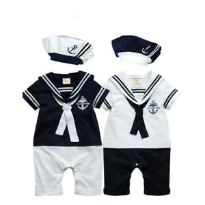 Hat One Piece Navy Suit Grow Summer Outfit sets SAILOR Newborn Baby Boy Romper