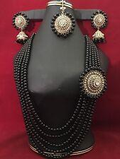 NWOT Mughal Style Polki Kundan Black Pearl Indian Jewelry Set
