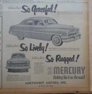 1951 newspaper ad for Mercury - So Graceful! So Lively! So Rugged! 1951 Mercury