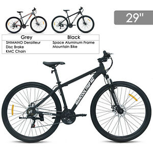 29-034-Aluminum-Frame-Men-039-s-Mountain-Bike-21-Speed-Shimano-Hybrid-Bicycle-Disc-Brake
