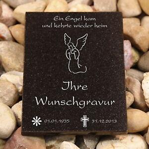 Edle Gedenkplatte, Granitplatte Grabplatte  mit Wunschgravur, Grabbild 13x18cm