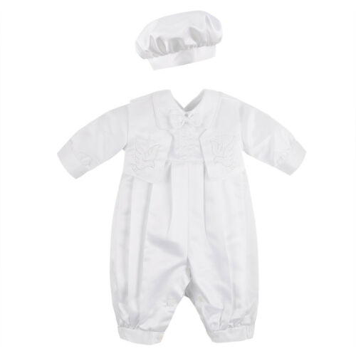 Newborn Infant Baby Boys Satin Baptism Christening Romper Outfits Hat Party Sets