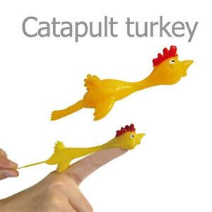 BSTiltion 10pcs Slingshot Turkey Finger Toys Catapult Children Slingshot Game Kids Novelty Joke Sticky Flying Rubber Chicken Stretchy Turkey