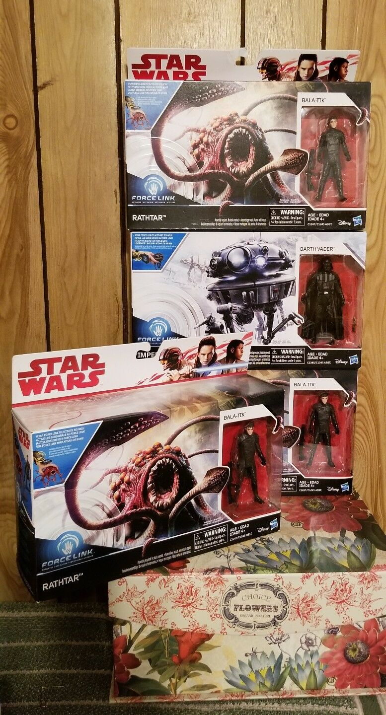 Star Wars Force Link Imperial Probe Droid & Darth Vader Figure. Lot of (4)