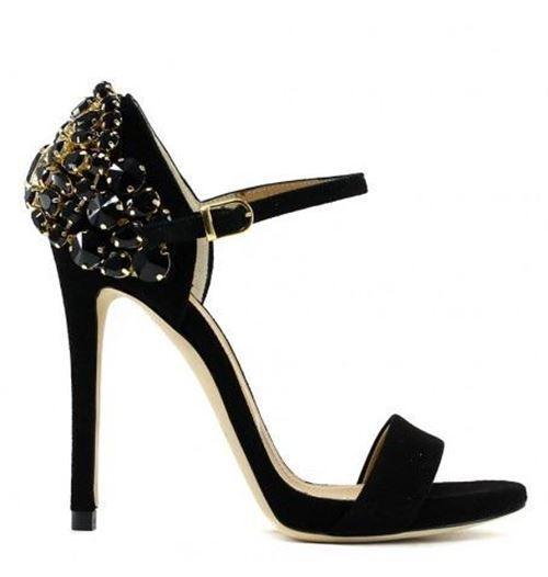 Sandalo in camoscio nero con cinturino pietre MARC ELLIS Scarpe Donna Cerimonia