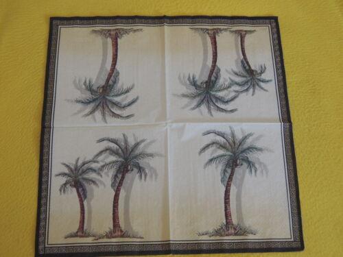 5 serviettes Palmiers Serviettes technique 1//1 Motif Serviettes bord arbres des nappes