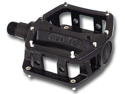 "FOR THREE PIECE CRANK Wellgo BMX bicycle aluminum platform pedals 9//16/"" BLACK"
