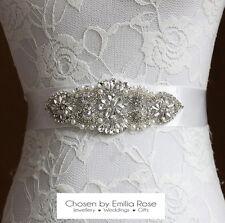 Bridal Wedding Dress Belt Sash Pearl & Crystal Rhinestone Ivory Ribbon Tie Thin