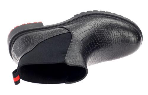 Damen Chelsea Boots Stiefeletten Stiefel Profilsohle Gefüttert Schwarz 19123
