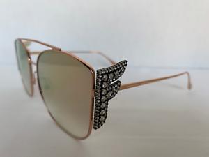 FENDI-FREEDOM-Sunglasses-FF-0380-G-S-Gold-Rose-Mirror-DDBVQ-Women-AUTHENTIC