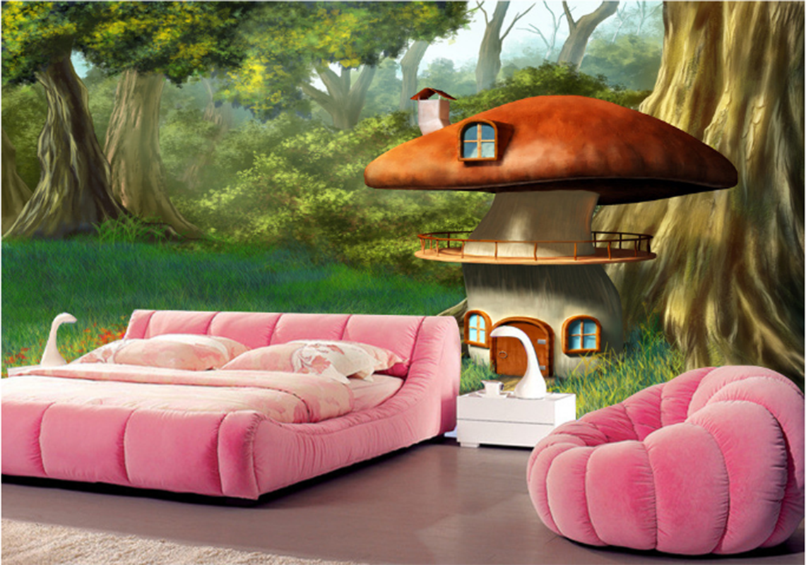 3D Mushroom House 835 Wallpaper Mural Paper Wall Print Wallpaper Murals UK Kyra