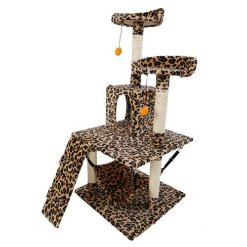 "M13 51/"" Stable Cute Sisal Cat Climb Holder Cat Tower Leopard Print AFP"