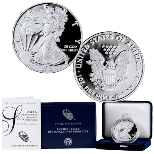 2016-W American Silver Eagle 30th Anniversary 1 oz .999 Lettered Edge Proof Coin