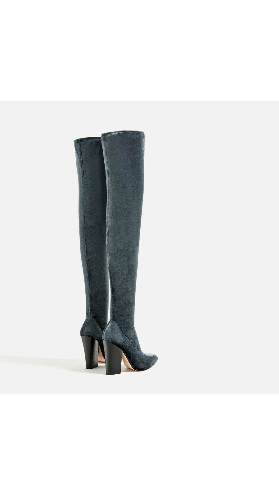 NWT ZARA ZARA ZARA VELVET OVER THE KNEE HIGH HEEL bottes bleu Sz US6 EU36 UK3 REF. 6010 101 a6fa96