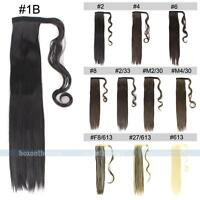 NEW Straight/Wavy Clip in Hairpiece Wrap On Ponytail Pony Tail Hair Extension