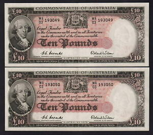 Australia-R-62-1954-10-Pounds-Coombs-Wilson-aU-UNC-CONSECUTIVE-Pair