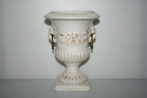 Vtg-Urn-Planter-Vase-Art-Pottery-White-Lion-Head-Mouths-Hold-Brass-Rings-On-Side