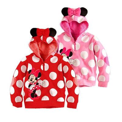 Minnie Mickey Mouse Dot Baby Girls Kids Tops Shirt Coat Jacket Hoodie Sweatshirt