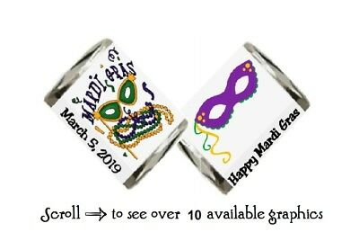 30 Personalized Mardi Gras Hershey Nugget Candy Labels Wrappers