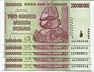 100 /& 200 Million Dollars 2008 P79-P81 UNC currency bills Zimbabwe 50