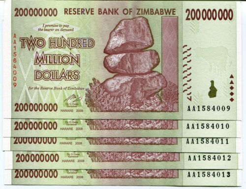 100 PCS. AA//AB ZIMBABWE 100 X 500 MILLION DOLLAR XF CIRCULATED BANKNOTE P82