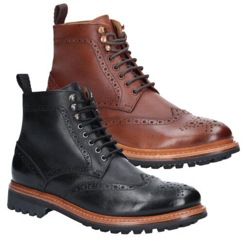 Cotswold Mens Rissington Commando Lace Up Brogue Ankle Boots