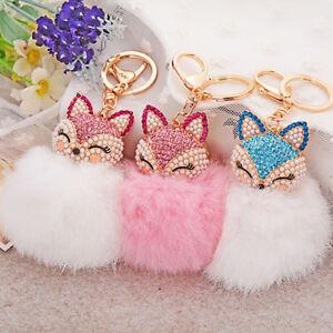 EB-ALS-AU-Cute-Rhinestone-Fox-Rabbit-Fluffy-Pompom-Ball-Keychain-Car-Key-Ring