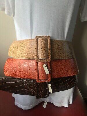 Women Belt snake Embossed Genuine Leather Handmade in Portugal size S M L XL