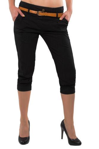 Damen Bermuda Boyfriend Hose 3//4 Capri CHINOHOSE Shorts mit Gürtel Hüfthose D-27