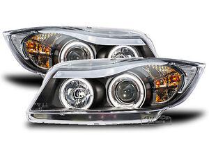BMW-E90-Angel-Eyes-Scheinwerfer-schwarz-Weisse-LED-Standlicht-Ringe-Europaw-zugel