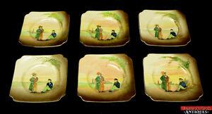 6-Royal-Doulton-Dickens-Relief-Ware-Artful-Dodger-amp-Oliver-Twist-Side-Plates-L7Y