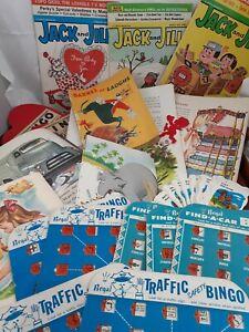 Ephemera-Lot-BINGO-cards-Children-039-s-illustrations-Jack-and-Jill-paper-vintage