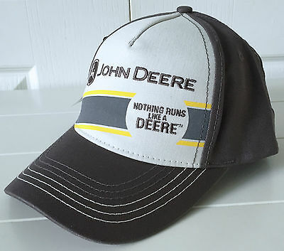 John Deere All Fabric Cream /& Gray Hat Cap NOTHING RUNS LIKE A DEERE
