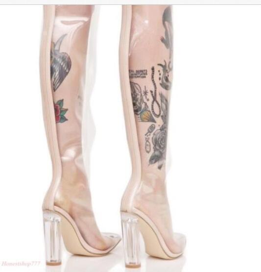 Frauen Spitze Zehen Chunky High Heels Clubwear Overknee Oberschenke Oberschenkel