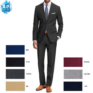 Men-s-Formal-classic-Fit-2-piece-Suit-two-button-solid-color-Jacket-pants-PR02