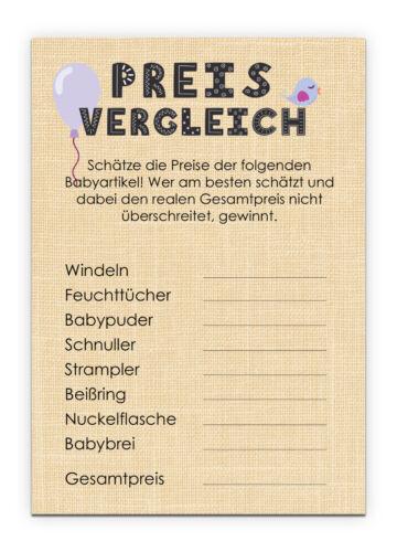 Babyparty Spiel 10 Karten Pullerparty Spiel