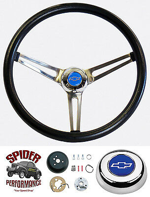 """1957 Chevy steering wheel BLUE BOWTIE Grant 15"""" MUSCLE CAR STAINLESS wheel"""