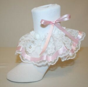 top style dependable performance outstanding features Details about Girls White Nylon & Lace Ruffle Socks Pink Ribbon Bows Randee