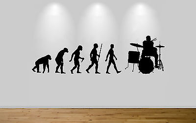 Drummer Evolution Drums Band Group Music Wall Art Sticker Picture