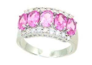 2-95ctw-Diamante-y-Zafiro-Rosa-Hecho-en-18-CT-Blanco-Anillo-De-Oro