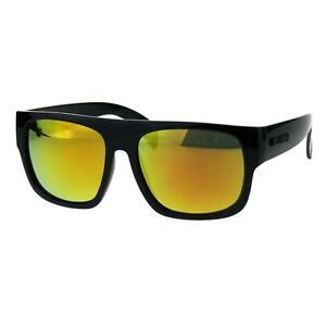 52922d980 Image is loading KUSH-Sunglasses-Mens-Mirrored-Lens-Black-Square-Frame-