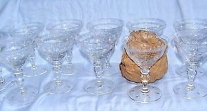Set-of-10-Hawkes-Crystal-Cut-Glass-Champagne-Sherbet-Wine-Goblet-Glasses-Signed