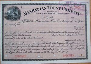 Manhattan-Trust-Company-1920-SPECIMEN-Bank-Certificate-Wall-Street-NYC-NY
