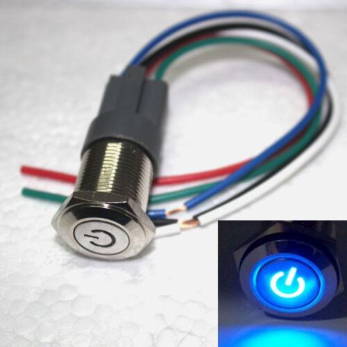 16mm verriegelnder blauer 12V Energien LED-Druckknopf-Schalter mit Sockel 1 stk