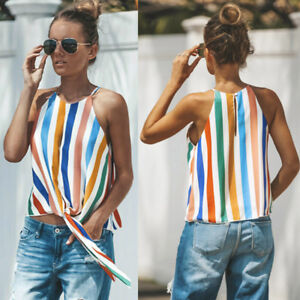 Womens-Multicolor-Striped-Vest-Top-Summer-Loose-Cami-Tank-Camisole-Shirt-Blouse