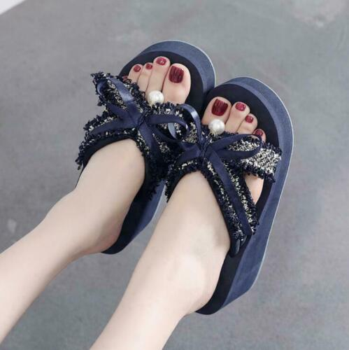 Womens Bow Knot Wedge Platform Slippers Holiday Beach Shoes Flip-flops Fashion