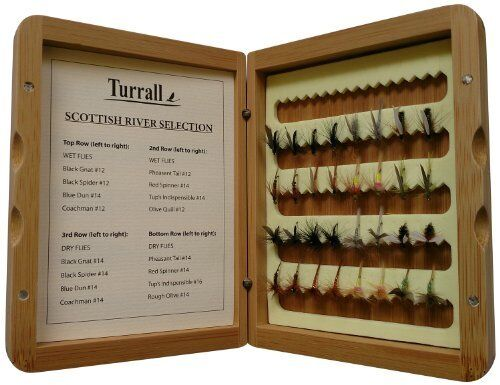 Great Gift Turrall Bamboo Presentation Fly Box 32 Quality Scottish River flies