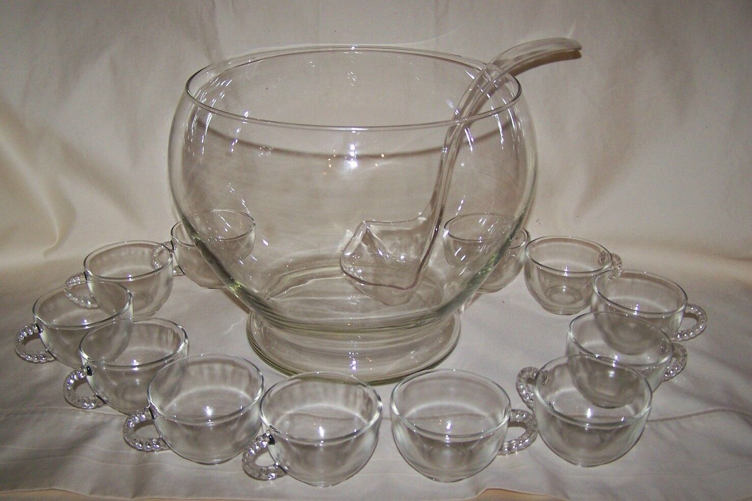 Riekes Crisa Handblown Crystal Punch Bowl 12 Cups Crafted In Mexico W Box
