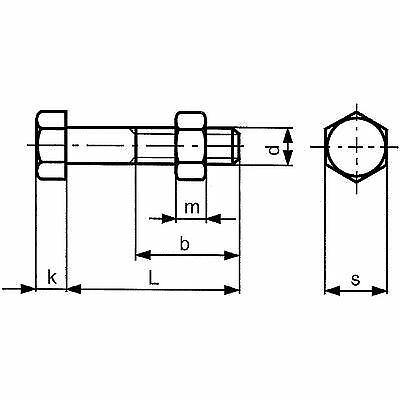 Hexagonal Vis m16x140 Acier feu galvanisé 8.8 iso4014//4032 M Mère 25 lots