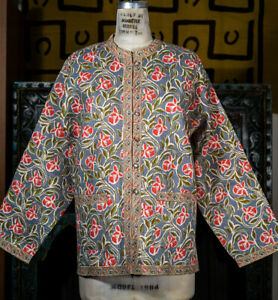 Quilted-Reversible-Cotton-Jacket-with-Floral-Vines-Extra-Large-Brand-New
